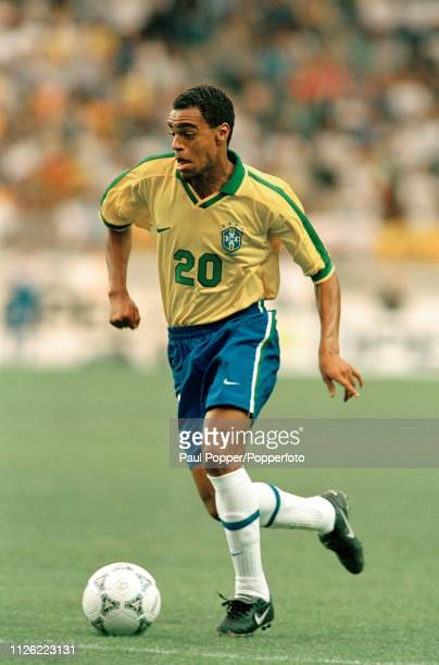 Denilson of Brazil in action during the Tournoi de France match between England and Brazil at the Parc des Princes on June 10 1997 in Paris France