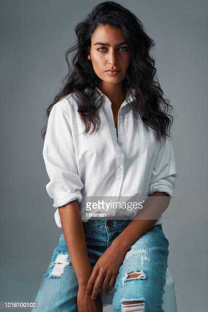 denim and a white blouse, always a classic - white shirt stock pictures, royalty-free photos & images