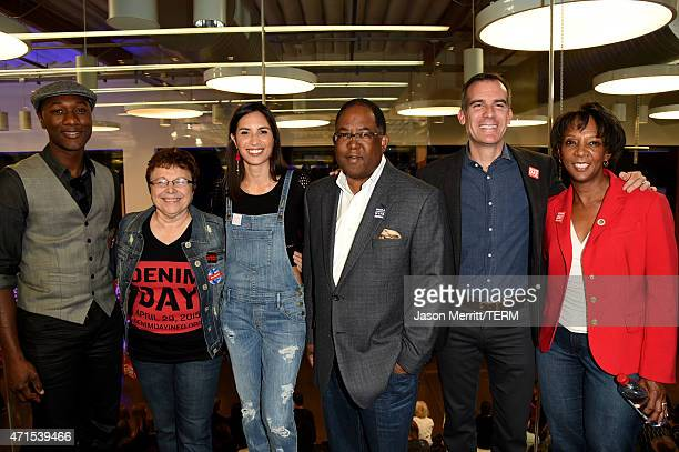 Denim Day 2015 Spokesperson and recording artist Aloe Blacc Denim Day Founder and Peace Over Violence Executive Director Patti Giggans Denim Day 2015...