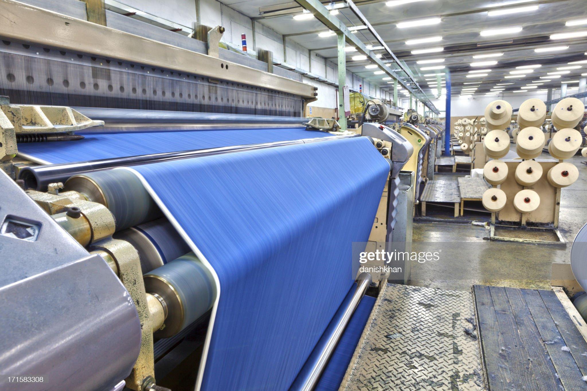 Denim indústria têxtil-Big tecer sala, HDR : Foto de stock