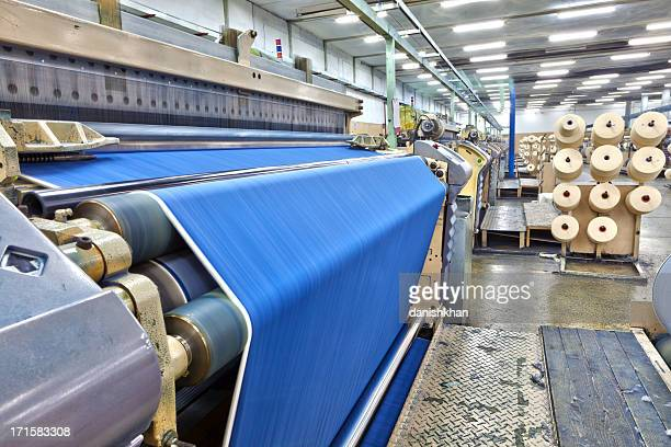 denim textile industry - big weaving room, hdr - woven stock photos and pictures