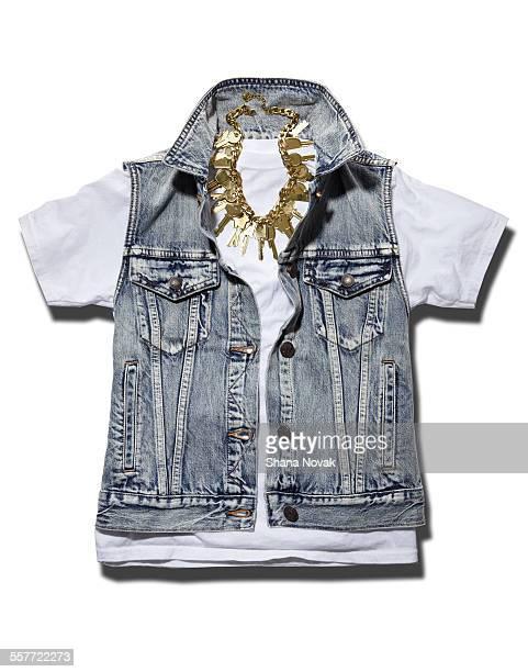 Denim Vest with Key Chain Necklace