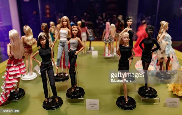 Deninm and Black barbie doll is seen on display at the exhibition 'Barbie mas alla de la muñeca' at Fundacion Canal on February 15 2017 in Madrid...