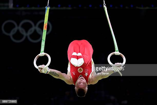 Denis Abliazin of Russia competes in the Men's Rings Final on day 10 of the Rio 2016 Olympic Games at Rio Olympic Arena on August 15 2016 in Rio de...