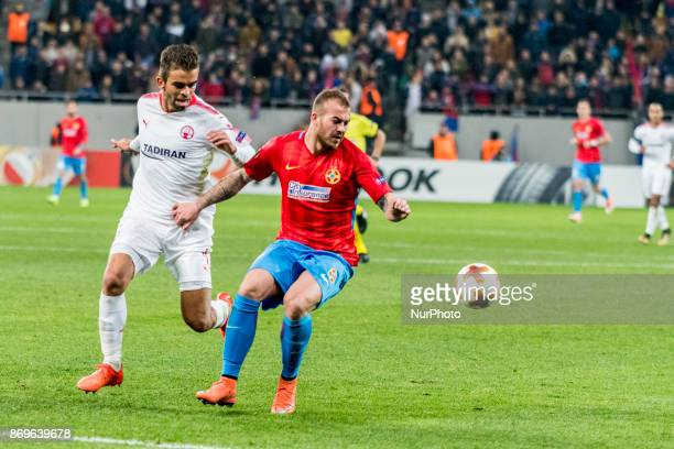 Denis Alibec and Miguel Vitor during the UEFA Europa League 20172018 Group Stage Groupe G game between FCSB Bucharest and Hapoel BeerSheva FC at...