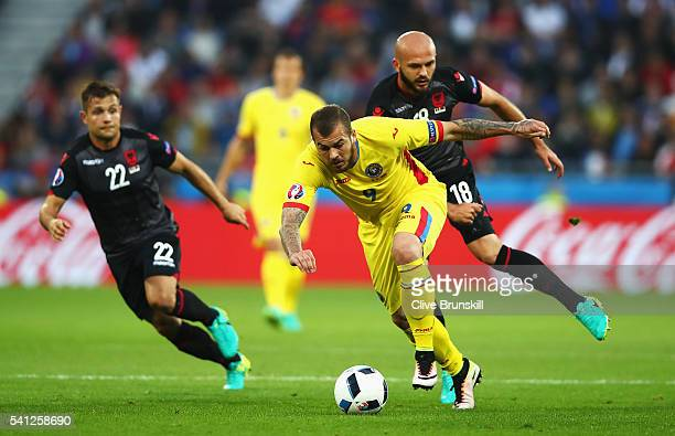 Denis Alibec of Romania runs with the ball during the UEFA EURO 2016 Group A match between Romania and Albania at Stade des Lumieres on June 19 2016...