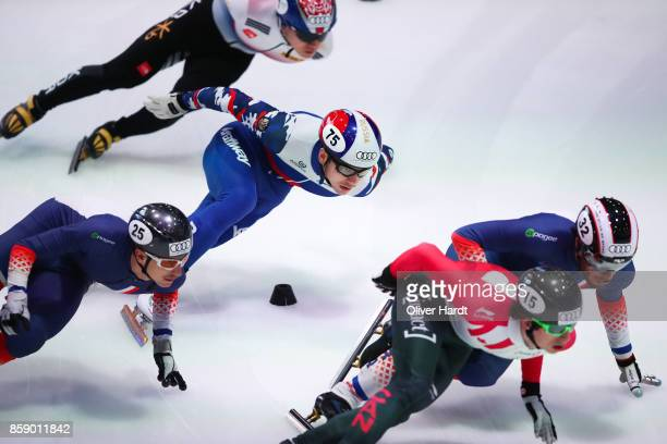 Denis Ayrapetyan of Russia competes in the Mens 1000m quarter finals race during the Audi ISU World Cup Short Track Speed Skating at Optisport...