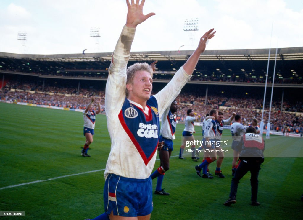Denis Betts of Wigan and Great Britain rugby league celebrates their 19-12 victory following an International match against Australia at Wembley Stadium in London on 27th October 1990.