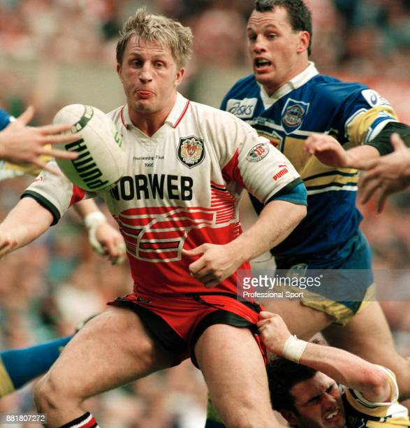 Denis Betts of Wigan in action against Leeds during the Stones Bitter Rugby League Centenary Championship at Headingley Stadium in Leeds on 3rd...