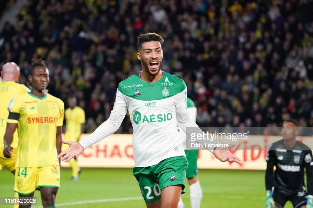 Denis BOUANGA of Saint Etienne celebrates after scoring a goal during the Ligue 1 match between Nantes and Saint Etienne at Stade de la Beaujoire on...