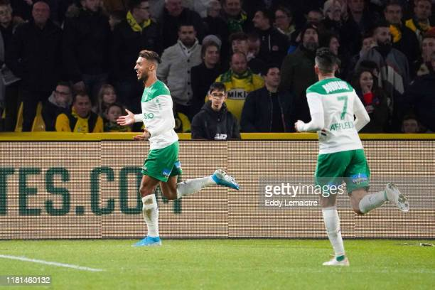 Denis BOUANGA of Saint Etienne celebrates after scoring his second goal during the Ligue 1 match between Nantes and Saint Etienne at Stade de la...