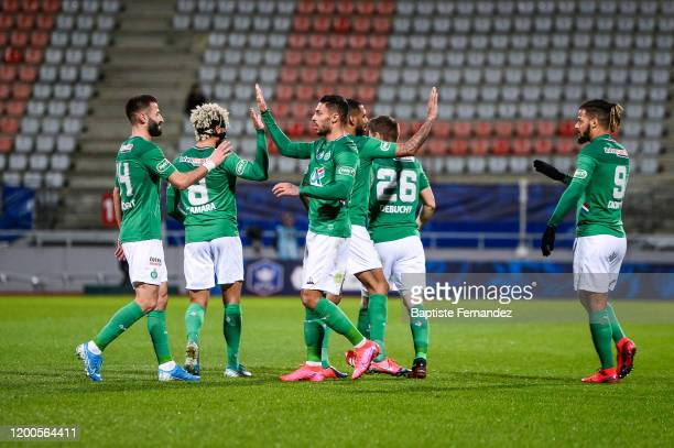 Denis BOUANGA of Saint Etienne celebrates his goal with team mates during the French Cup Soccer match between Epinal and SaintEtienne on February 13...