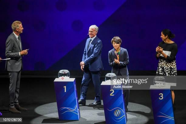 Denis Brogniart head coach of France Didier Deschamps Aya Miyama of Japan and Steffi Jones during the Women's World Cup Draw 2019 at La Seine...