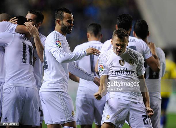 Denis Cheryshev of Real Madrid celebrates after scoring his team's opening goal during the Copa del Rey Round of 32 First Leg match between Cadiz and...