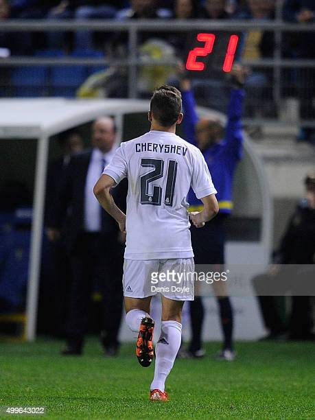 Denis Cheryshev of Real Madrid is substiruted in the first minute of the 2nd half during the Copa del Rey Round of 32 First Leg match between Cadiz...