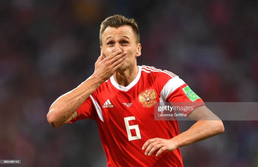 Denis Cheryshev of Russia celebrates after scoring his team's first goal during the 2018 FIFA World Cup Russia Quarter Final match between Russia and Croatia at Fisht Stadium on July 7, 2018 in Sochi, Russia.