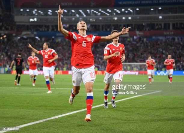 Denis Cheryshev of Russia celebrates scoring during the 2018 FIFA World Cup Russia Quarter Final match between Russia and Croatia at Fisht Stadium on...