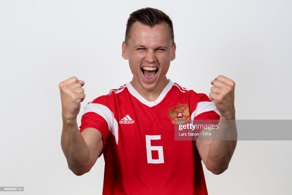 Denis Cheryshev of Russia poses for a portrait during the official FIFA World Cup 2018 portrait session at Federal Sports Centre Novogorsk on June 8, 2018 in Moscow, Russia.