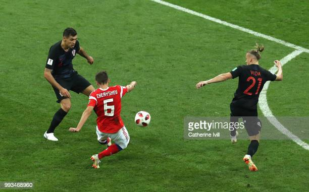 Denis Cheryshev of Russia scores his team's first goal during the 2018 FIFA World Cup Russia Quarter Final match between Russia and Croatia at Fisht...