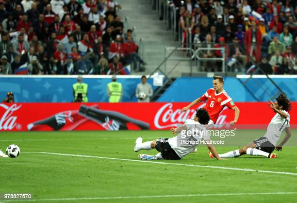Denis Cheryshev of Russia scores his team's second goal during the 2018 FIFA World Cup Russia group A match between Russia and Egypt at Saint...