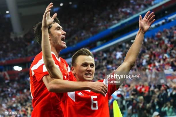Denis Cheryshev of the Russia national football team celebrates after scoring a goal during the 2018 FIFA World Cup match, first stage - Group A...