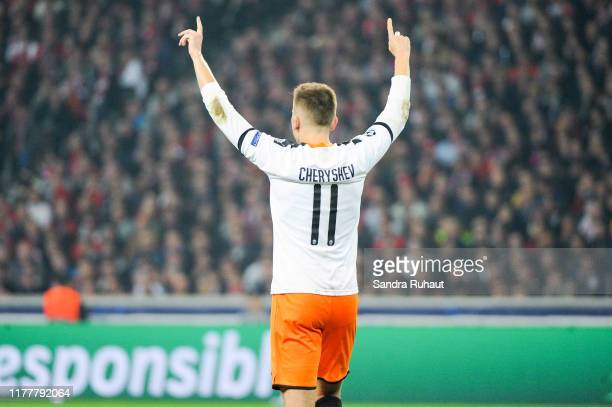 Denis CHERYSHEV of Valence celebrates his goal with teammates Kevin GAMEIRO and Maxi GOMEZ of Valence during the UEFA Champions League Group H match...