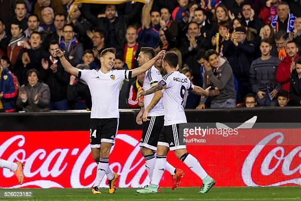 Denis Cheryshev of Valencia CF celebrates his goal during the La Liga match between Valencia CF and Atletico de Madrid at Mestalla stadium in...