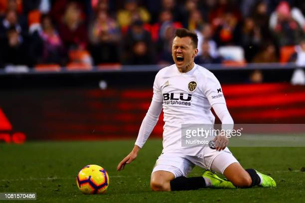 Denis Cheryshev of Valencia CF during spanish La Liga match between Valencia CF and Real Valladolid CF at Mestalla Stadium on January 12 2019