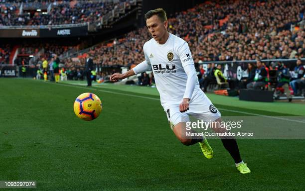 Denis Cheryshev of Valencia CF in action during the La Liga match between Valencia CF and Real Valladolid CF at Estadio Mestalla on January 12 2019...