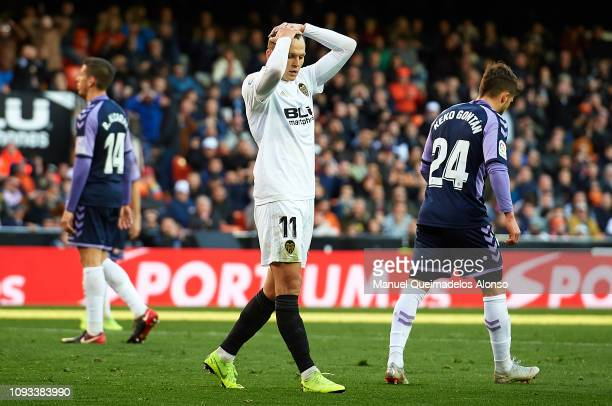 Denis Cheryshev of Valencia CF reacts during the La Liga match between Valencia CF and Real Valladolid CF at Estadio Mestalla on January 12 2019 in...