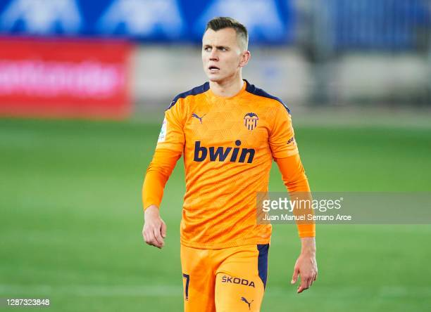 Denis Cheryshev of Valencia CF reacts during the LaLiga Santander match between Alaves and Valencia on November 22 2020 in VitoriaGasteiz Spain