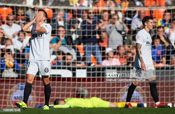 Denis Cheryshev of Valencia reacts during the La Liga match between Valencia CF and SD Huesca at Estadio Mestalla on December 23 2018 in Valencia...