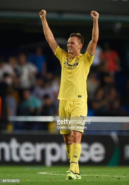 Denis Cheryshev of Villarreal celebrates after scoring a goal during the UEFA Europa League group A match between Villarreal CF and FK Astana at...