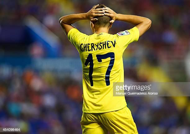Denis Cheryshev of Villarreal CF reacts as he fails to score during the la Liga match between Levante UD and Villarreal CF at Ciutat de Valencia on...