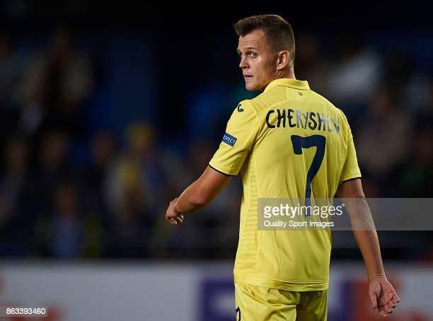 Denis Cheryshev of Villarreal reacts during the UEFA Europa League group A match between Villarreal CF and Slavia Praha at Estadio de La Ceramica on...
