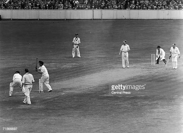 Denis Compton hits the winning stroke off Arthur Morris as England beat Australia and win the Ashes at the Oval London 19th August 1953