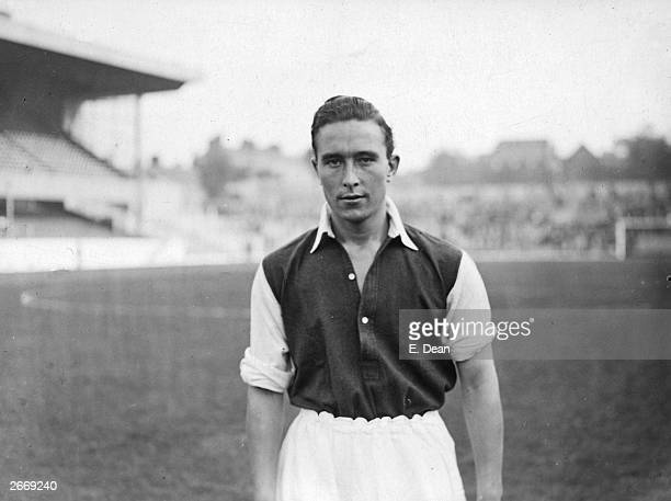 Denis Compton of Arsenal Football Club. Compton has also achieved sporting notoriety as a Middlesex and England cricketer.