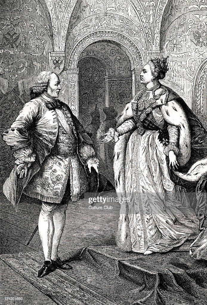 Denis Diderot and Catherine II / Catherine the Great - portrait of the French philosopher and writer meeting with the empress of Russia. : News Photo