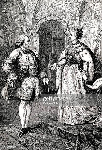 Denis Diderot and Catherine II / Catherine the Great portrait of the French philosopher and writer meeting with the empress of Russia DD 5 October...