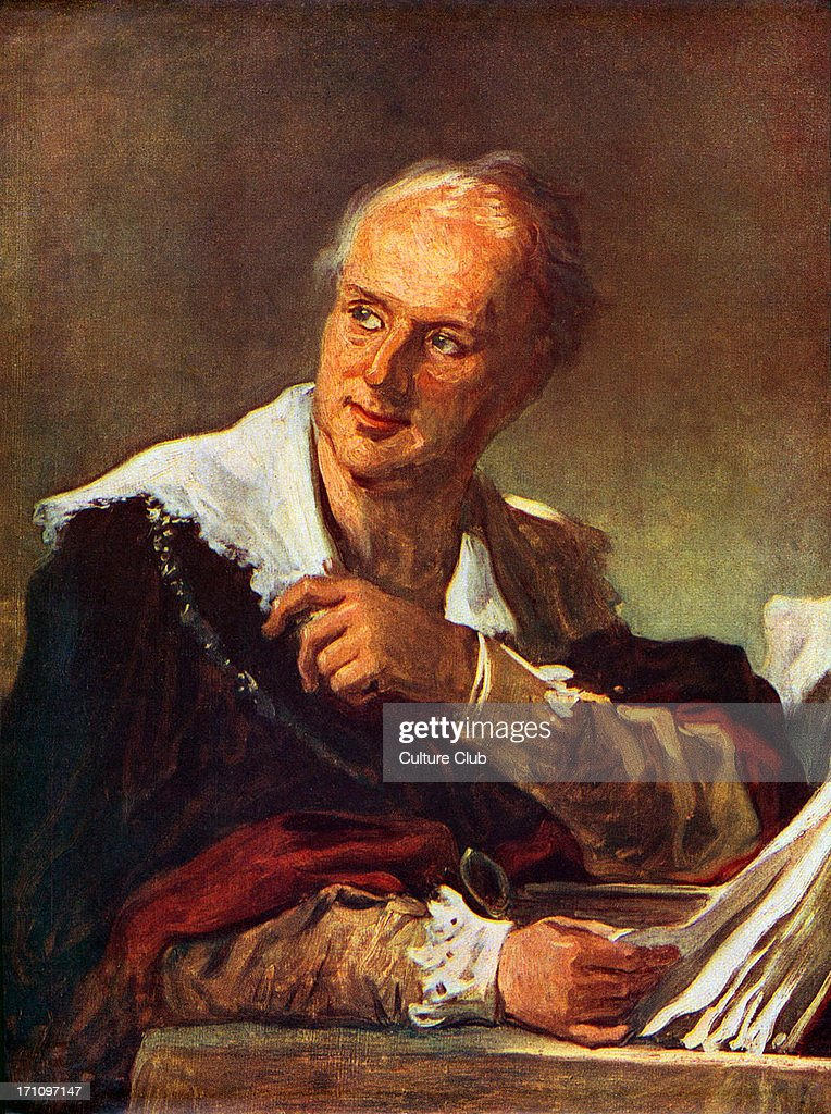 Denis Diderot - French Enlightenment writer and philosopher and general editor of the famous Encyclopedia (Encyclopédie). Portrait by Michel Vanloo. : News Photo
