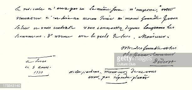 Denis Diderot's letter to Beaumarchais 5 August 1977 Handwritten DD French Enlightenment writer and philosopher and general editor of the famous...