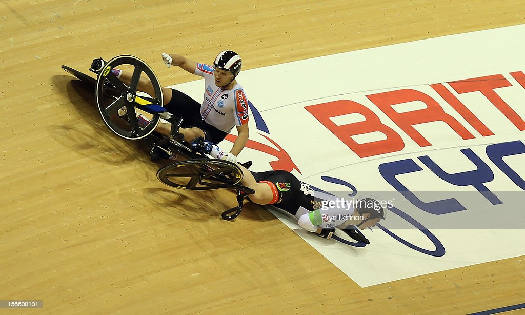 Denis Dimitriev of Rusvelo crashes with Lewis Oliva of Wales during day two of the UCI Track Cycling World Cup at Sir Chris Hoy Velodrome on November 17, 2012 in Glasgow, Scotland.