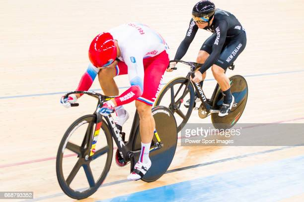 Denis Dmitriev of Russia and Ethan Mitchell of New Zealand compete on the Men's Sprint Semifinals 2nd Race during 2017 UCI World Cycling on April 15...