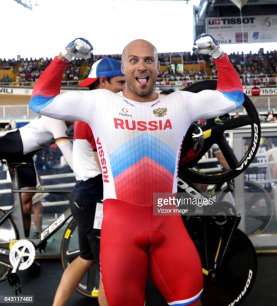 Denis Dmitriev of Russia celebrates after winning a gold medal in Men's Speed during the UCI Track Cycling World Cup Cali 2017 at Alcides Nieto...
