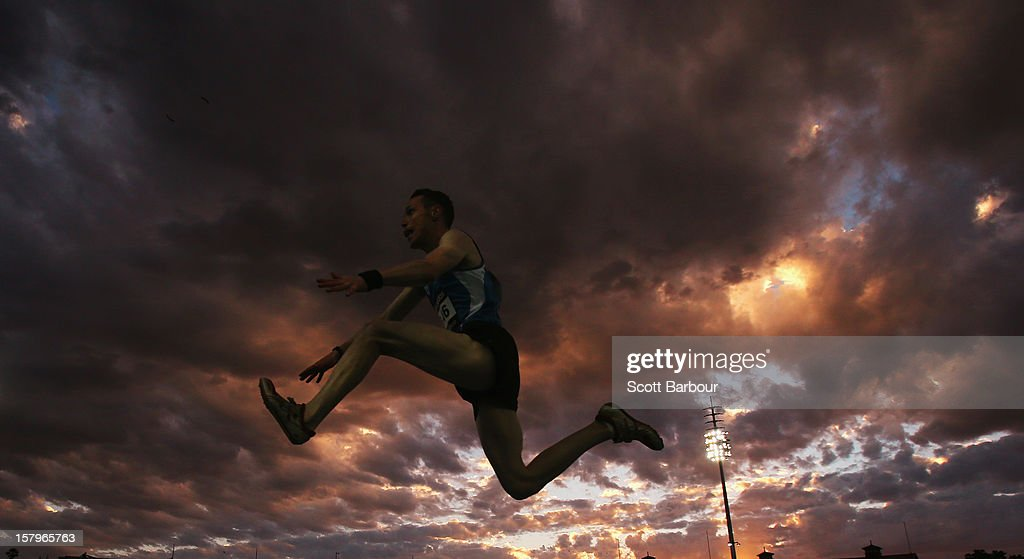 Denis Finnegan of Ireland competes in the Mens Triple Jump during the Zatopek Classic at Lakeside Stadium on December 8, 2012 in Melbourne, Australia.