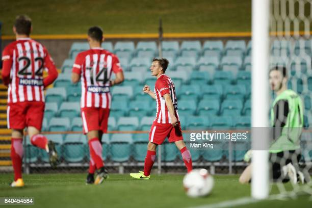 Denis Genreau of Melbourne City celebrates scoring a goal during the FFA Cup round of 16 match between Hakoah Sydney City East and Melbourne City FC...