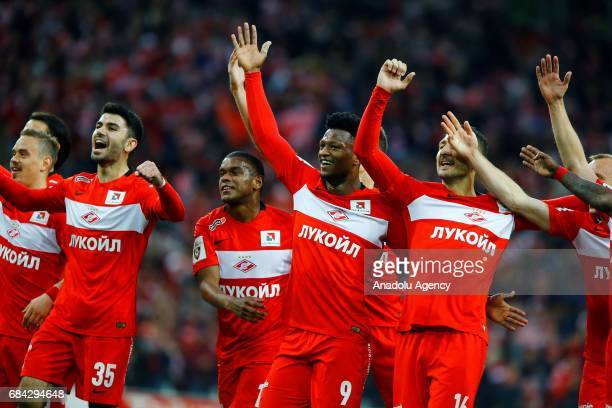 Denis Glushakov and player of FC Spartak Moscow in celebrate scoring during the Russian Premier League match between FC Spartak Moscow and Terek...