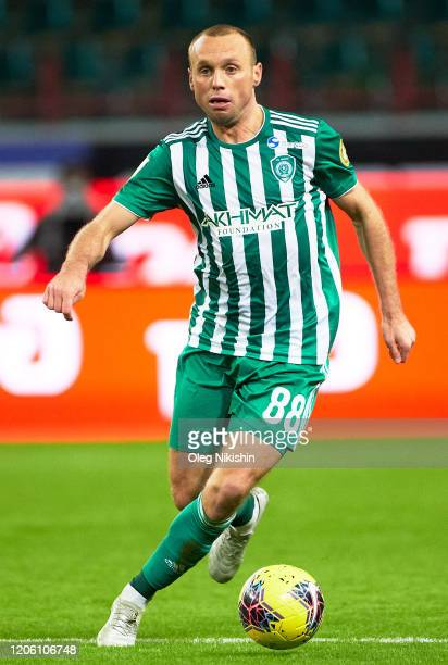 Denis Glushakov of FC Akhmat Grozny during the Russian Football League match between FC Lokomotiv Moscow and Akhmat Grozny at RZD Arena on March 8,...