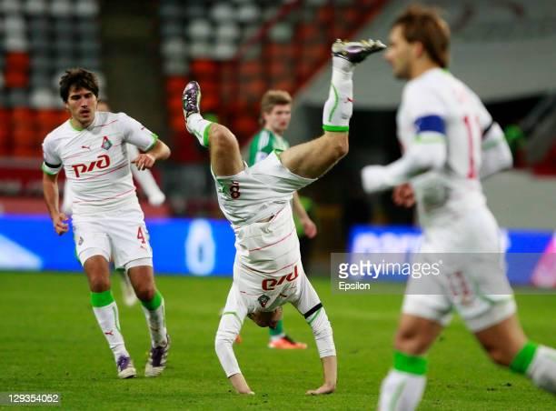 Denis Glushakov of FC Lokomotiv Moscow celebrates after scoring a goal during the Russian Football League Championship match between FC Lokomotiv...