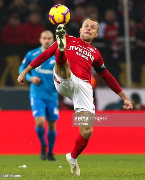 Denis Glushakov of FC Spartak Moscow vie for the ball during the Russian Premier League match between FC Spartak Moscow and FC Zenit St. Petersburg...